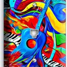 MODERN ABSTRACT GUITAR SAXOPHONE MUSIC PHONE JACK TELEPHONE WALL PLATE COVER