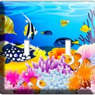 NEW TROPICAL SEA EXOTIC CORAL AQUARIUM FISH DOUBLE LIGHT SWITCH WALL PLATE COVER