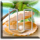 SEE SHELL PEARL PALM BEACH DOUBLE GFCI LIGHT SWITCH WALL PLATE COVER HOME DECOR