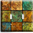 ITALIAN PATCHWORK TILES PATTERN PRINT DOUBLE LIGHT SWITCH WALL PLATE COVER ART