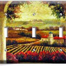 TUSCAN VINEYARD PAINTING KITCHEN DINING ROOM ART TRIPLE  LIGHT SWITCH WALL PLATE