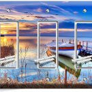 BOAT ON THE LAKE TWILIGHT TRIPLE GFCI LIGHT SWITCH WALL PLATE COVER DREAMY DECOR