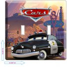 DISNEY CARS 3 SHERIFF POLICE DOUBLE LIGHT SWITCH PLATE BOYS BEDROOM ROOM DECOR