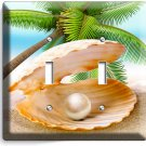 SEE SHELL PEARL PALM BEACH DOUBLE LIGHT SWITCH WALL PLATE COVER HOME ROOM DECOR