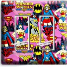 SUPERGIRL BATGIRL WONDER WOMAN COMICS DOUBLE GFCI LIGHT SWITCH WALL PLATE COVER