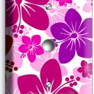 PINK HAWAIIAN HIBISCUS FLOWERS LIGHT DIMMER CABLE WALL PLATE COVER BEDROOM DECOR