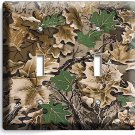 OAK TREE MOSSY CAMO CAMOUFLAGE DOUBLE LIGHT SWITCH WALL PLATE WOODS CABIN DECOR
