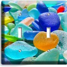 SEA BEACH GLASS SUMMER FUN DOUBLE LIGHT SWITCH WALL PLATE COVER BATHROOM DECOR