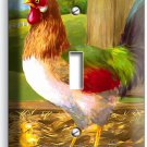 COUNTRY FARM ROOSTER CHICKS RUSTIC BARN SINGLE LIGHT SWITCH WALL PLATE ART COVER
