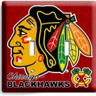 CHICAGO BLACKHAWKS HOCKEY DOUBLE LIGHT SWITCH WALL PLATE GAME BOYS ROOM MAN CAVE