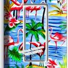 PINK FLAMINGO PARADISE ISLAND PALM TREE SINGLE GFI LIGHT SWITCH WALL PLATE DECOR