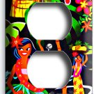 DANCING HAWAIIAN GIRLS FLOWERS PALM TREES DUPLEX OUTLETS WALL PLATE COVER DECOR