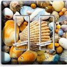 SEA SHELLS BEACH STONES DOUBLE GFI LIGHT SWITCH WALL PLATE BATHROOM SUMMER HOUSE