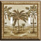 EXOTIC FLORIDA COCONUT BEAUTIFUL PALM TREES DOUBLE LIGHT SWITCH WALL PLATE COVER