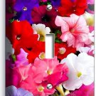 MIXED PETUNIA FLOWERS COLORFUL GARDEN SINGLE LIGHT SWITCH WALL PLATE COVER DECOR