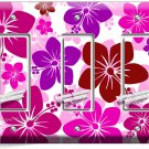 PINK HAWAIIAN HIBISCUS FLOWERS TRIPLE GFI LIGHT SWITCH PLATE COVER BEDROOM DECOR