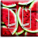 RED WATERMELON DOUBLE GFI LIGHT SWITCH WALL PLATE DINING ROOM KITCHEN HOME DECOR