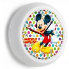 MICKEY MOUSE EARS SILHOUETTE COLORFUL POLA DOTS WALL CLOCK BABY NURSERY NY DECOR