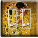 GUSTAV KLIMT THE KISS GOLD PAINTING DOUBLE GFI LIGHT SWITCH WALL PLATE ART COVER