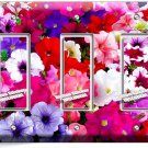 PETUNIA COLORFUL GARDEN FLOWERS VARIETY TRIPLE GFI LIGHT SWITCH WALL PLATE COVER