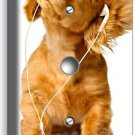 CUTE PUPPY W HEADPHONES MUSIC DOG LIGHT DIMMER CABLE COVER WALL PLATE ROOM DECOR