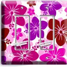 PINK HAWAIIAN HIBISCUS FLOWERS DOUBLE GFI LIGHT SWITCH PLATE COVER BEDROOM DECOR