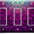 DAMASK PURPLE LUXURY ORNAMENT TRIPLE GFI LIGHT SWITCH WALL PLATE COVER ART DECOR