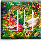 EXOTIC RAINFOREST TROPICAL TREE FROGS DOUBLE GFCI LIGHT SWITCH WALL PLATE COVER