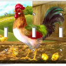 COUNTRY FARM ROOSTER CHICKS RUSTIC BARN TRIPLE LIGHT SWITCH WALL PLATE ART COVER