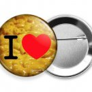 FUNNY QUOTE I LOVE MACARONI MAC AND YELLOW CHEESE HEART PINBACK BUTTON FLAIR