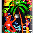 DANCING HAWAIIAN GIRLS FLOWERS PALM TREES LIGHT DIMMER VIDEO CABLE PLATE DECOR