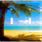 EXOTIC PALM TREE ON A PARADISE SANDY BEACH DOUBLE LIGHT SWITCH WALL PLATE COVER