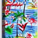 PINK FLAMINGOS PARADISE ISLAND PALM TREES PHONE TELEPHONE WALL PLATE COVER DECOR