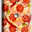 PEPPERONI PIZZA PIE LIGHT DIMMER CABLE WALL PLATE DINING ROOM KITCHEN HOME DECOR