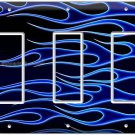 HOT ROD BLUE FLAMES TRIPLE GFCI LIGHT SWITCH WALL PLATE COVER BIKE GARAGE DECOR