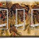 PINE CONES TRIPLE GFI LIGHT SWITCH WALL PLATE COVER HOME WOOD CABIN RUSTIC DECOR