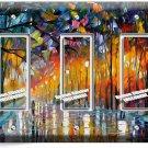 COLORFUL RAINY DAY TRIPLE GFCI LIGHT SWITCH WALL PLATE COVER NY ART STUDIO DECOR
