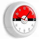INSPIRED BY POKEMON RED WHITE POKE BALL WALL CLOCK BABY GIRLS BOYS NURSERY DECOR
