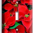 RED POINSETTIA CHRISTMAS FLOWERS SINGLE LIGHT SWITCH WALL PLATE COVER HOME DECOR
