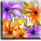 ❀ FLORAL LILIES PURPLE ORANGE LILY FLOWERS DOUBLE LIGHT SWITCH WALL PLATE DECOR