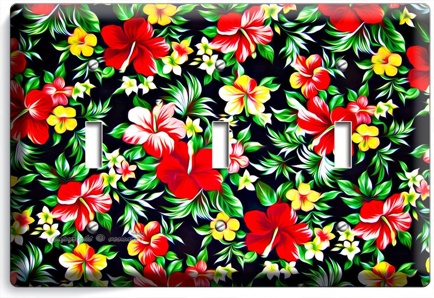 RED HAWAIIAN HIBISCUS FLOWERS PRINT PATTERN TRIPLE LIGHT SWITCH WALL PLATE DECOR