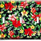RED HAWAIIAN HIBISCUS FLOWERS PRINT PATTERN TRIPLE LIGHT SWITCH WALL PLATE DECOR