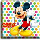 MICKEY MOUSE PASTEL POLKA DOTS DOUBLE LIGHT SWITCH WALL PLATE COVER BABY NURSERY