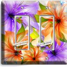 FLORAL LILIES PURPLE ORANGE LILY FLOWER DOUBLE GFI LIGHT SWITCH WALL PLATE DECOR
