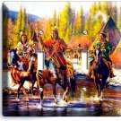 NATIVE AMERICAN INDIANS ON HORSES double LIGHT SWITCH WALLPLATE COVER ROOM DECOR