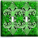 FLEUR DE LIS GREEN MARBLE DOUBLE LIGHT SWITCH WALL PLATE WALL PLATE COVER DECOR