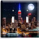 MANHATTAN EMPIRE STATE BUILDING STARRY NIGHT DOUBLE LIGHT SWITCH WALLPLATE DECOR
