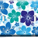 BLUE HAWAIIAN HIBISCUS FLOWERS TRIPLE LIGHT SWITCH WALL PLATE COVER ROOM DECOR