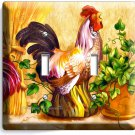 COUNTRY FARM ROOSTER CHICKENS RUSTIC DOUBLE LIGHT SWITCH WALL PLATE COVER DECOR