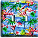 PINK FLAMINGOS PARADISE ISLAND PALM TREES DOUBLE LIGHT SWITCH WALL PLATE DECOR